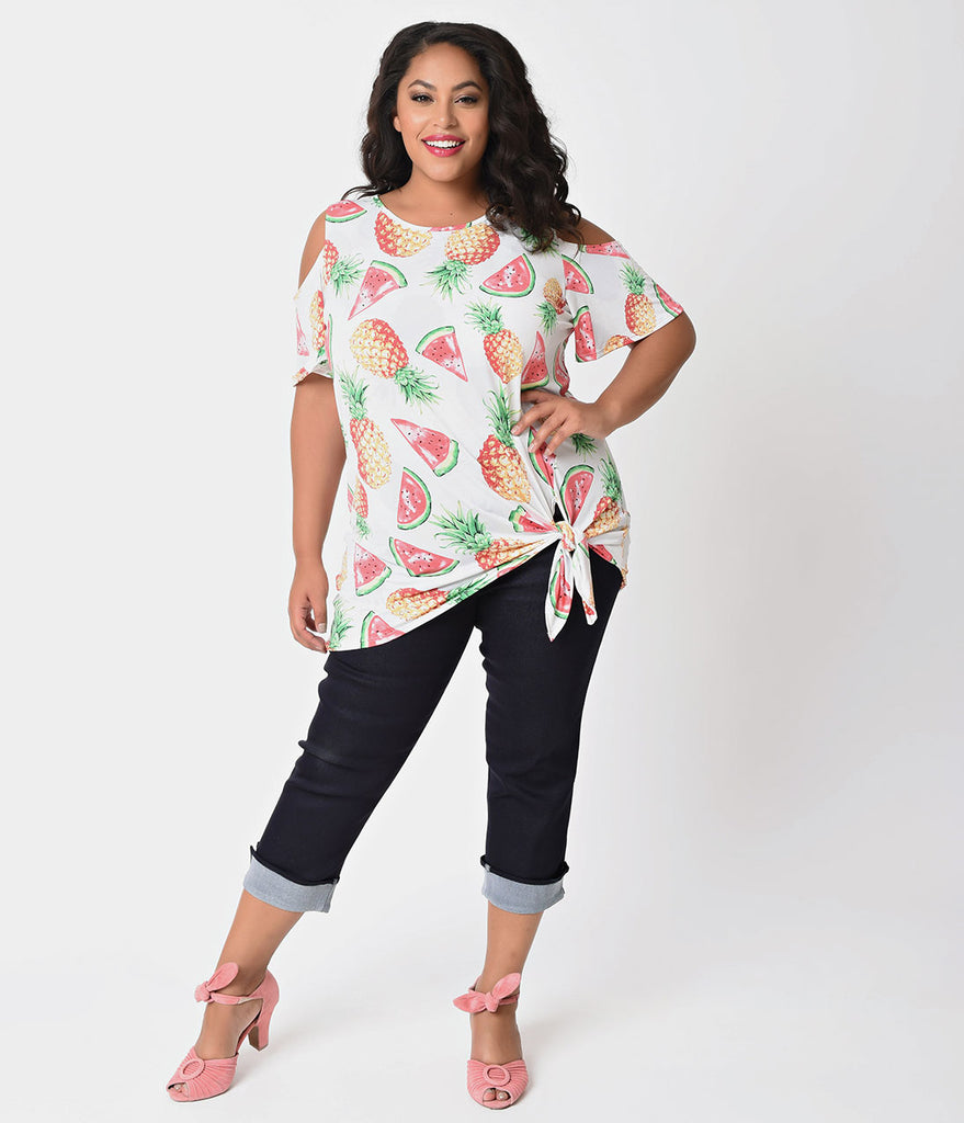 Plus Size Ivory & Tropical Print Cold Shoulder Half Sleeve Knit Blouse