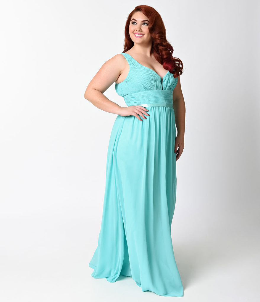 Plus Size Mint Sexy Sleeveless Chiffon Long Dress