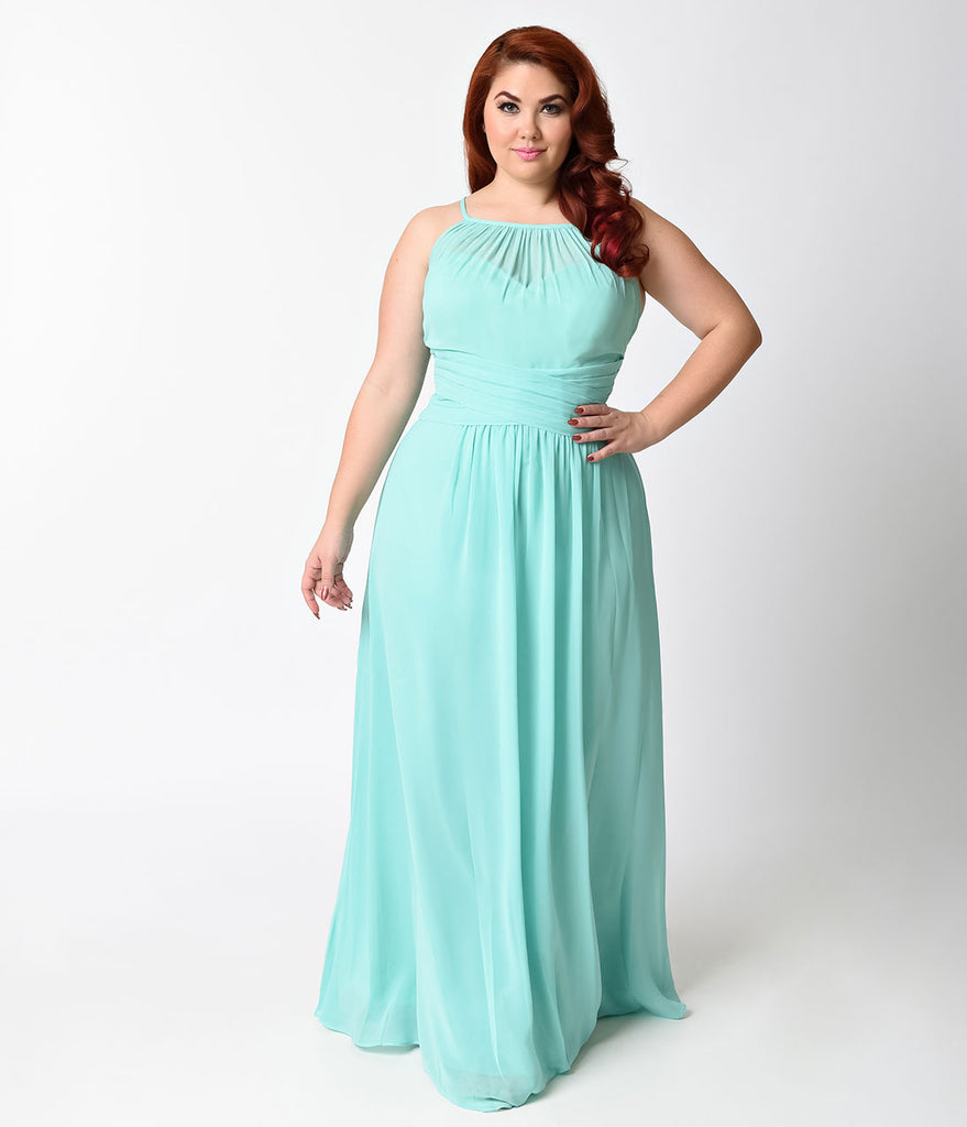 Plus Size Mint Sexy Sleeveless Halter Long Dress – Unique Vintage
