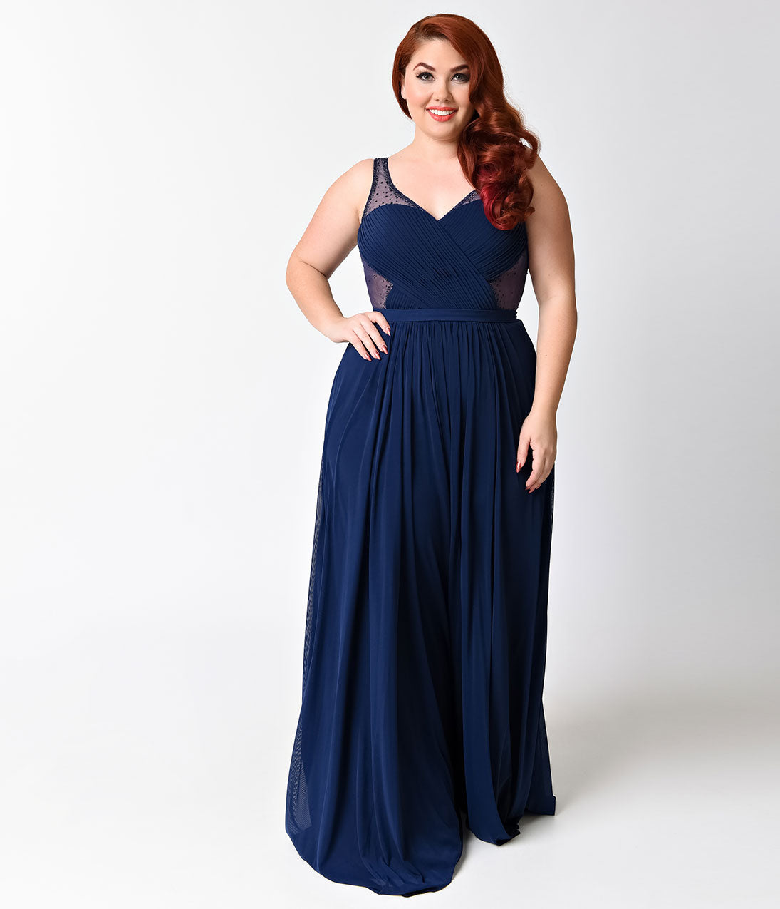 21134c06a4e Plus Size Royal Blue Sexy Embellished Chiffon Dress – Unique Vintage