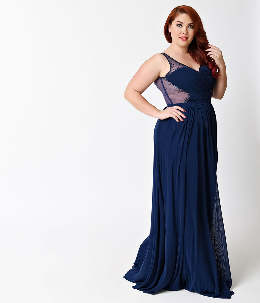 f48d8956cae Plus Size Navy Blue Sexy Embellished Chiffon Dress – Unique Vintage