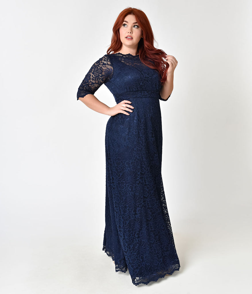 Plus Size Navy Blue Sleeved Leona Lace Gown Unique Vintage