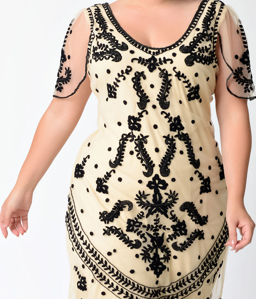 Plus Size Vintage Style Ivory & Black Embroidered Florence Flapper