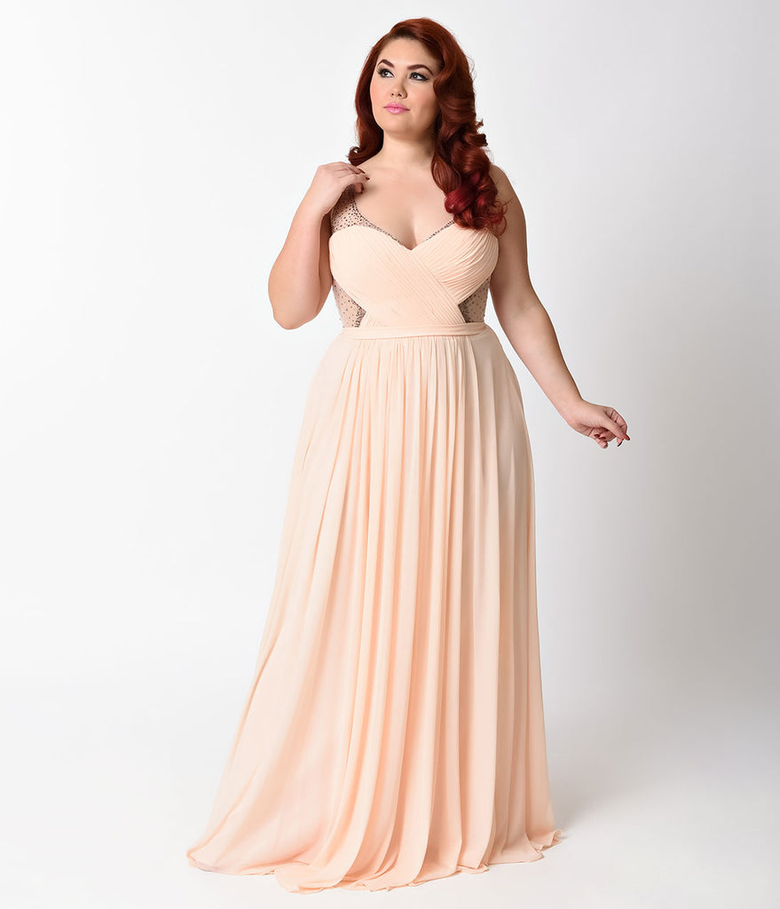 f25726eda54 Plus Size Peach Sheer Embellished Chiffon Long Dress – Unique Vintage