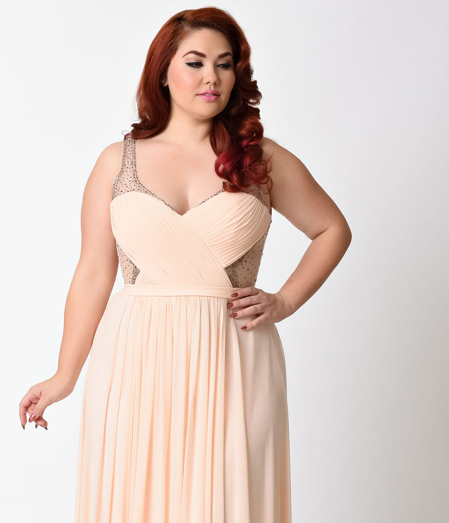 Plus Size Peach Sheer Embellished Chiffon Long Dress