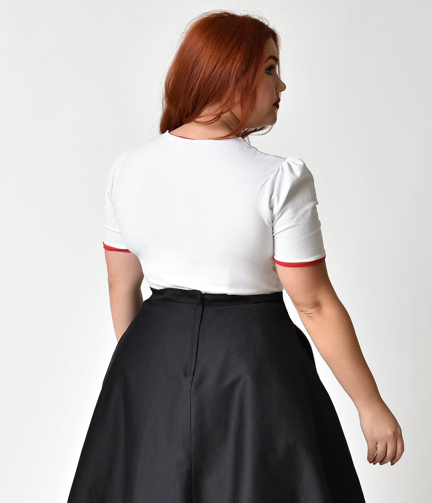 Plus Size Pin-Up Style White & Red Piping Puff Sleeve Tie Top