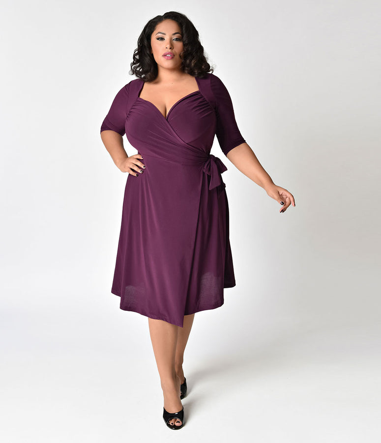 Plus Size Plum Purple Sweetheart Knit Wrap Dress