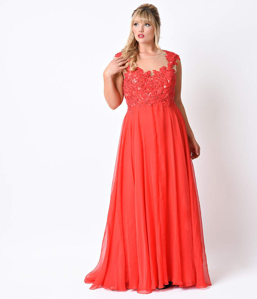 ... Plus Size Red Beaded Lace Mesh Cap Sleeve Long Dress ...