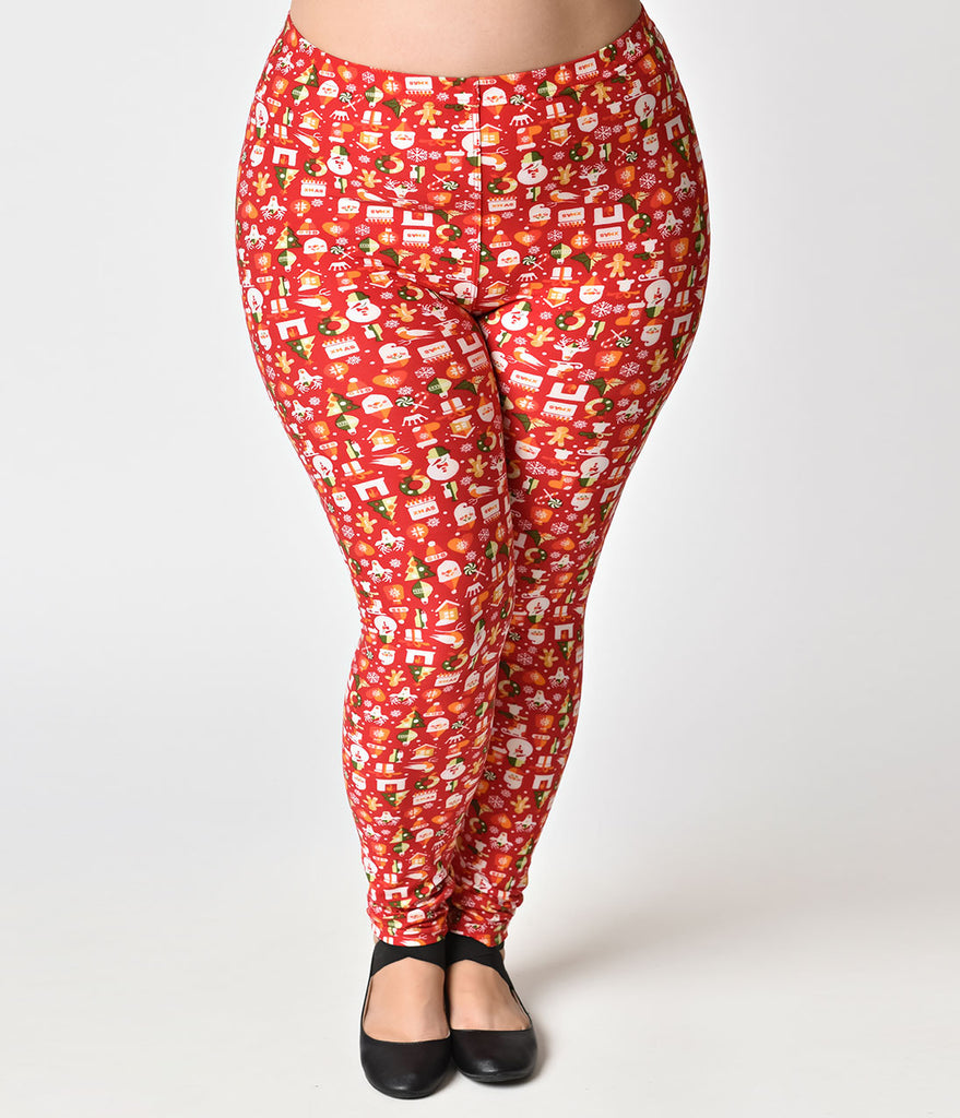 Plus Size Red Holiday Print Stretch Leggings