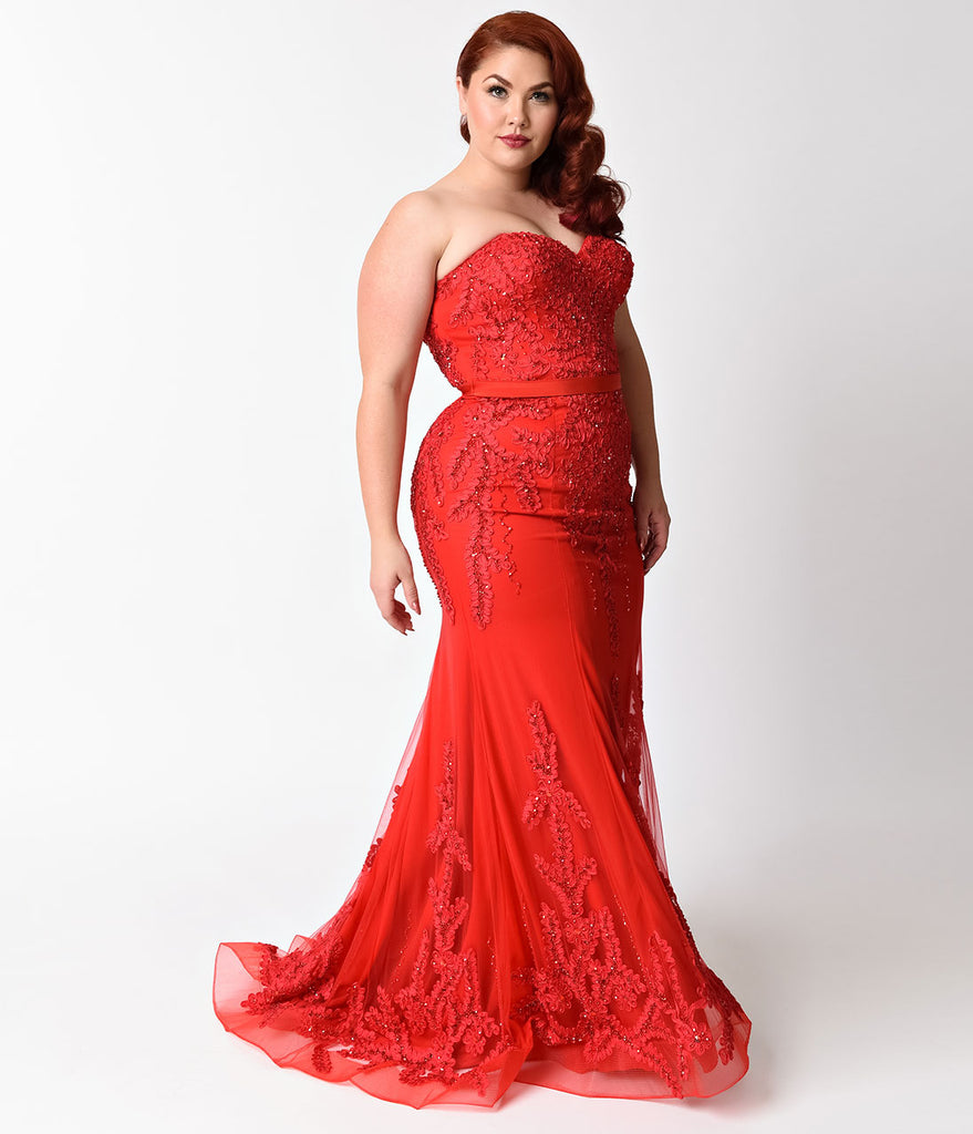 Plus Size Red Strapless Embellished Long Dress – Unique Vintage