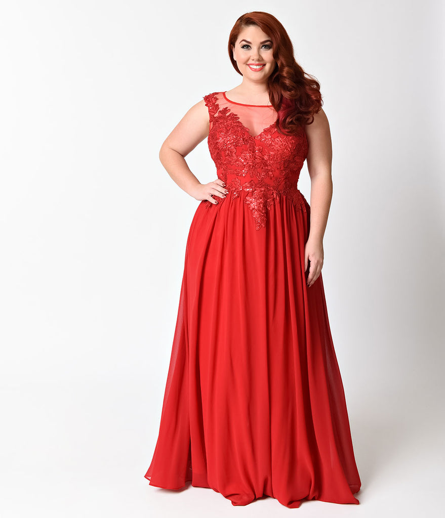 Plus Size Red V-Neck Embellished Chiffon Dress