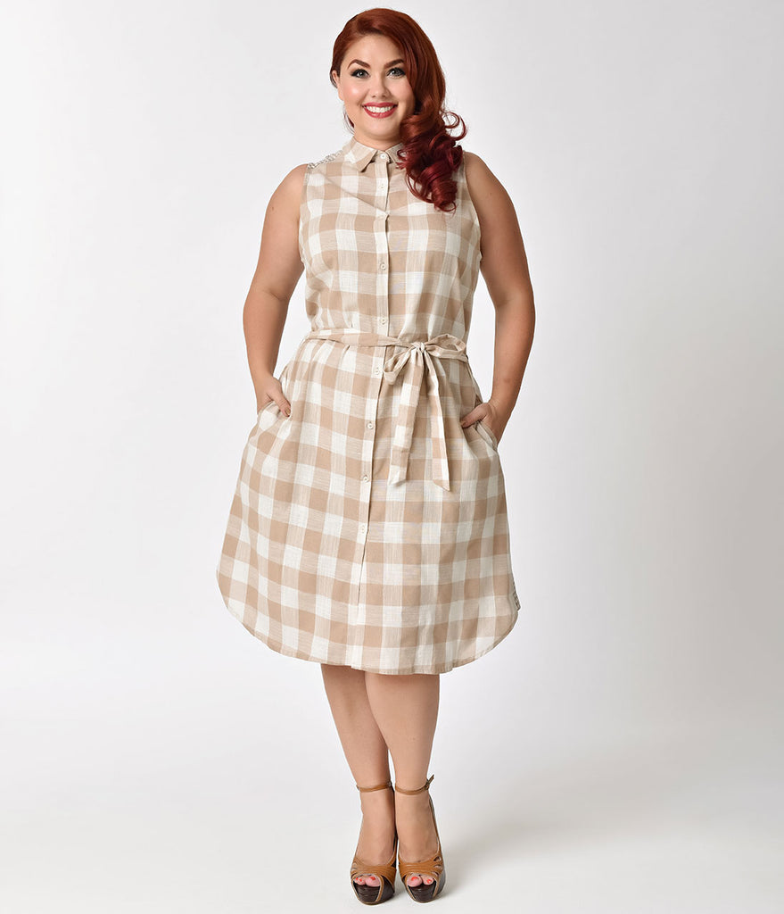 Plus Size Retro 1970s Style Taupe Checkered Shift Dress