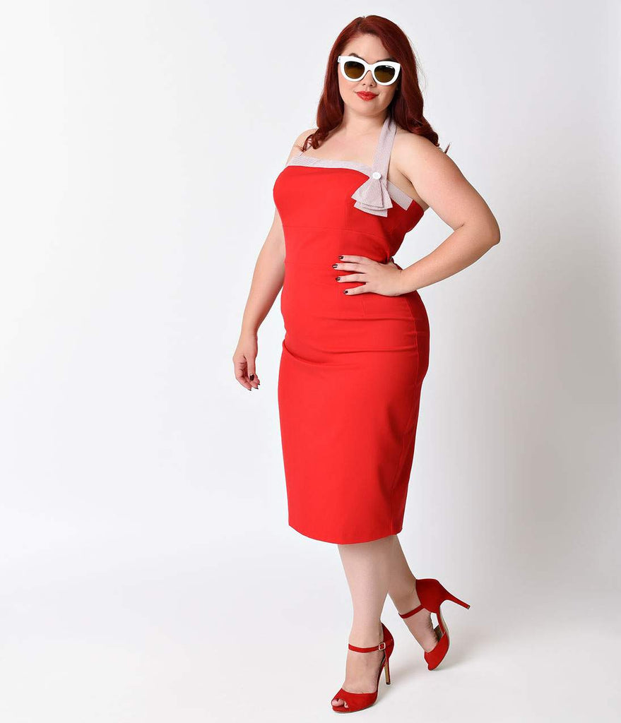 Glamour Bunny Plus Size Retro Red & Pink Candy Stripe Stretch Halter Wiggle Dress