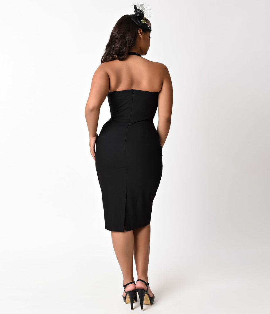 Plus Size Retro Style Black Sookie Collared Wiggle Dress