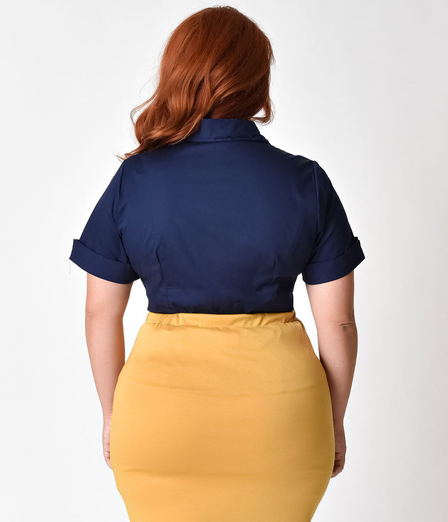 Plus Size Retro Style Navy Blue Short Sleeve Collared Button Up Blouse