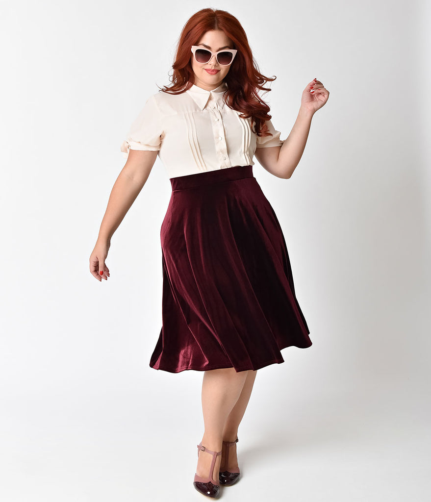 Plus Size Retro Style Ruby Velvet Stretch High Waist Swing Skirt