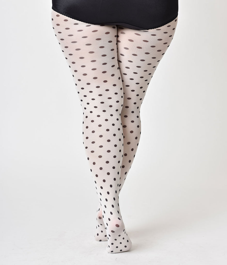Plus Size Retro Style White & Black Polka Dot Tights