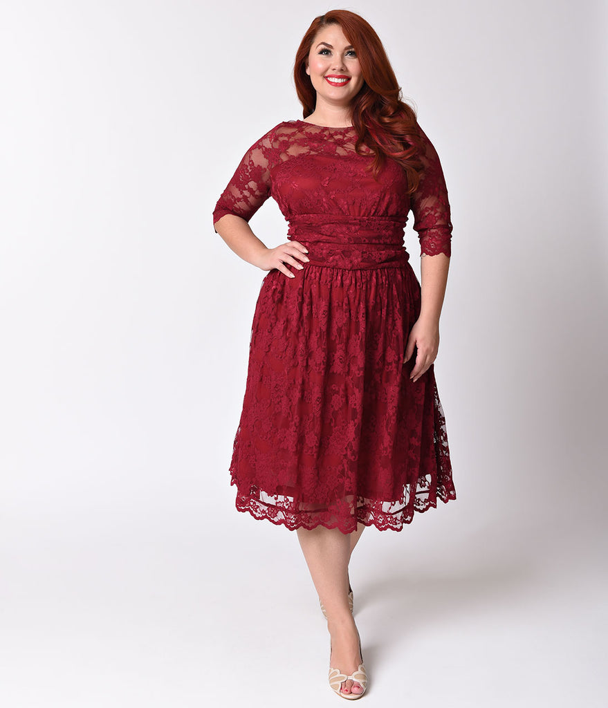 Plus Size Rose Wine Red Luna Lace Half Sleeve Swing Dress – Unique ...