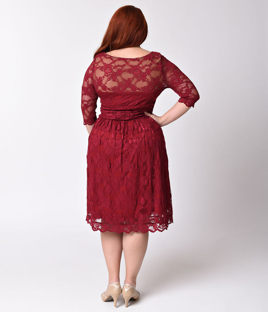 Plus Size Rose Wine Red Luna Lace Half Sleeve Swing Dress