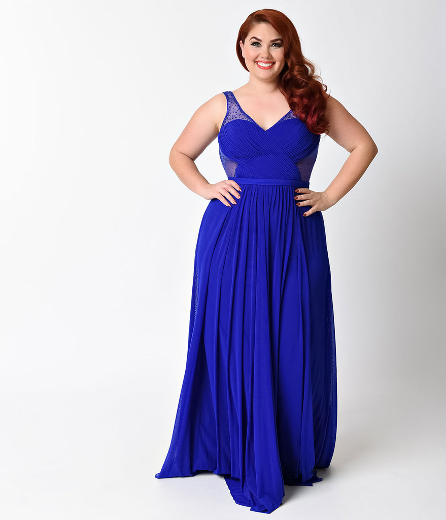 0d32c1ad927 Plus Size Royal Blue Sexy Embellished Chiffon Dress for Prom 2018