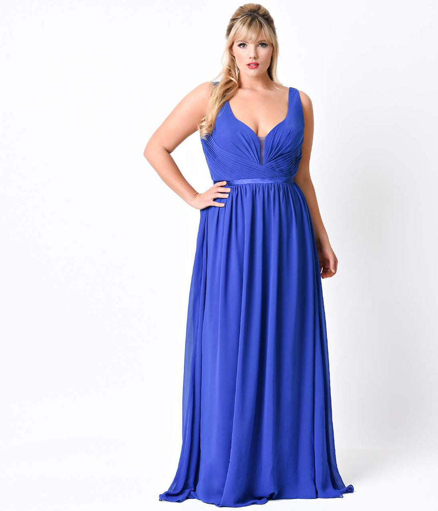 Plus Size Royal Pleated Chiffon Illusion Deep V-Neck Dress