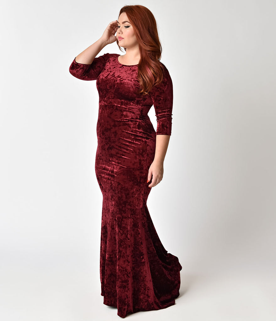 Plus size vintage style burgundy crushed velvet sleeved maxi dress plus size vintage style burgundy crushed velvet sleeved maxi dress ombrellifo Gallery