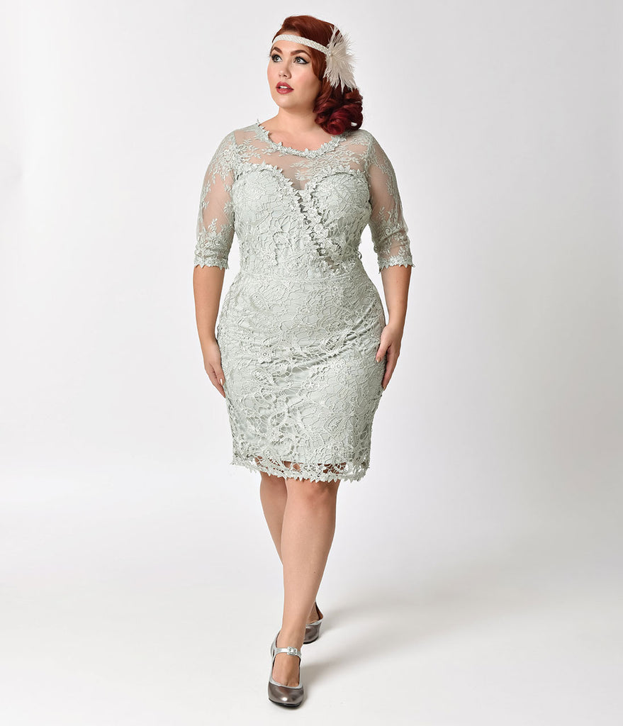 Plus Size Vintage Style Sage Green Half Sleeve Lace Wiggle Dress