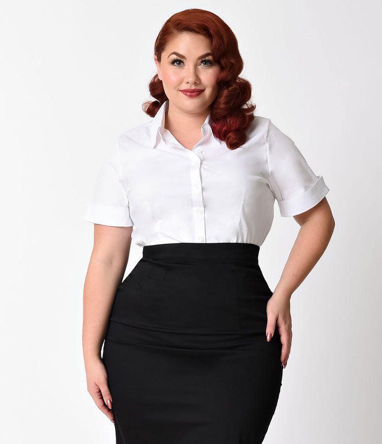 Plus Size White Collared Short Sleeve Cotton Button Up Blouse