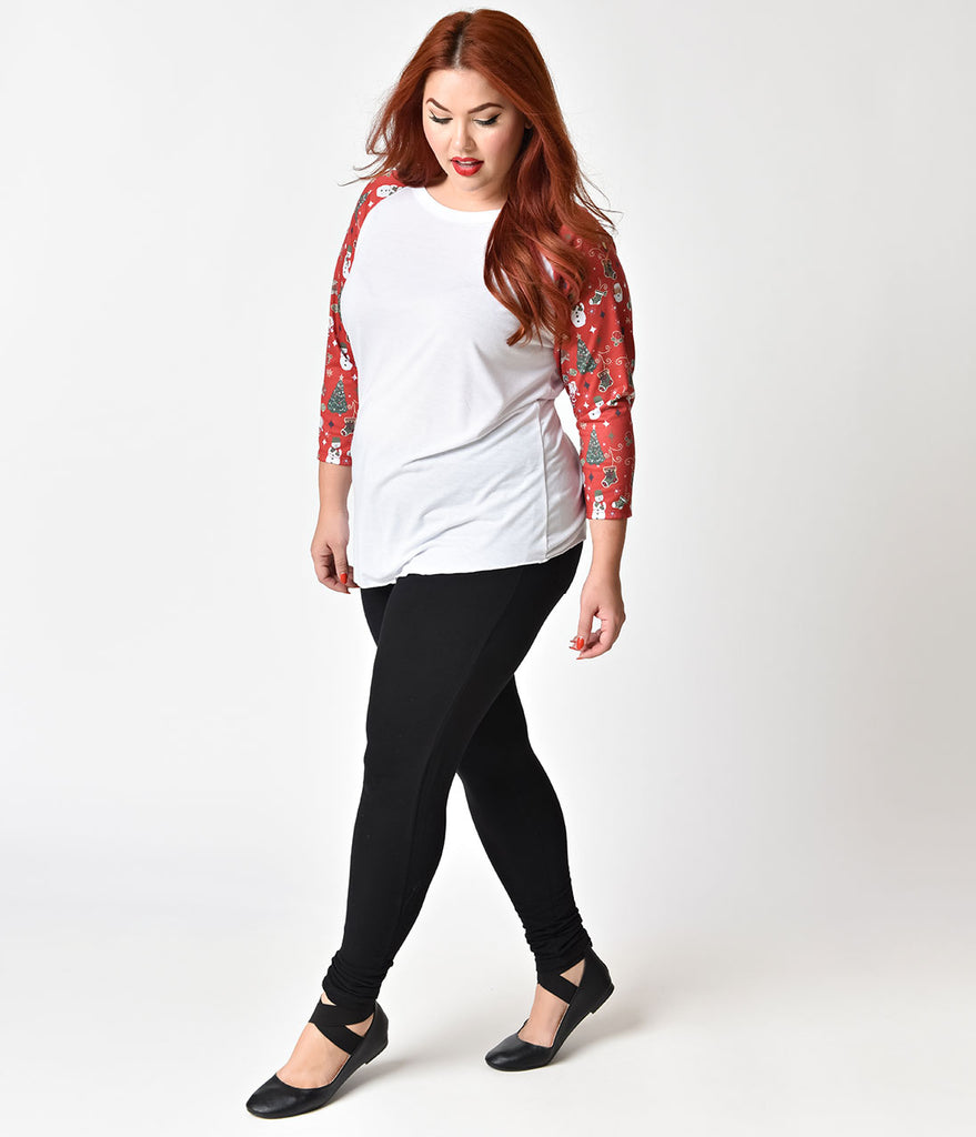 Plus Size White & Red Holiday Half Sleeve Raglan Tee