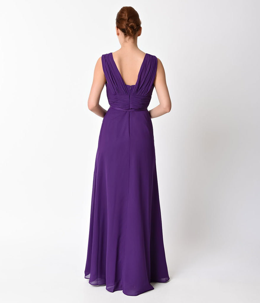 Purple Belted Chiffon Long Dress