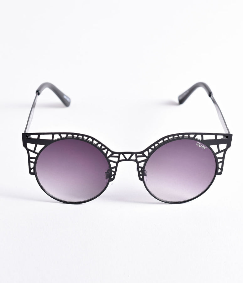 Quay Black Smoke Fleur Cutout Cat Eye Sunglasses