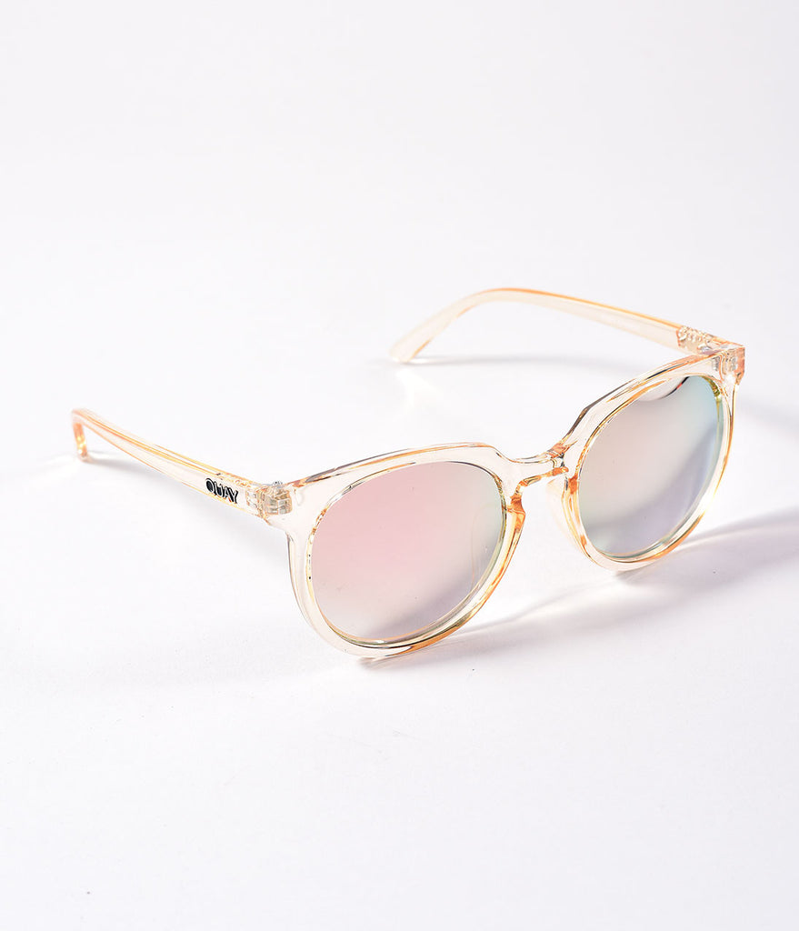 Quay Clear Gold Don't Change Round Sunglasses