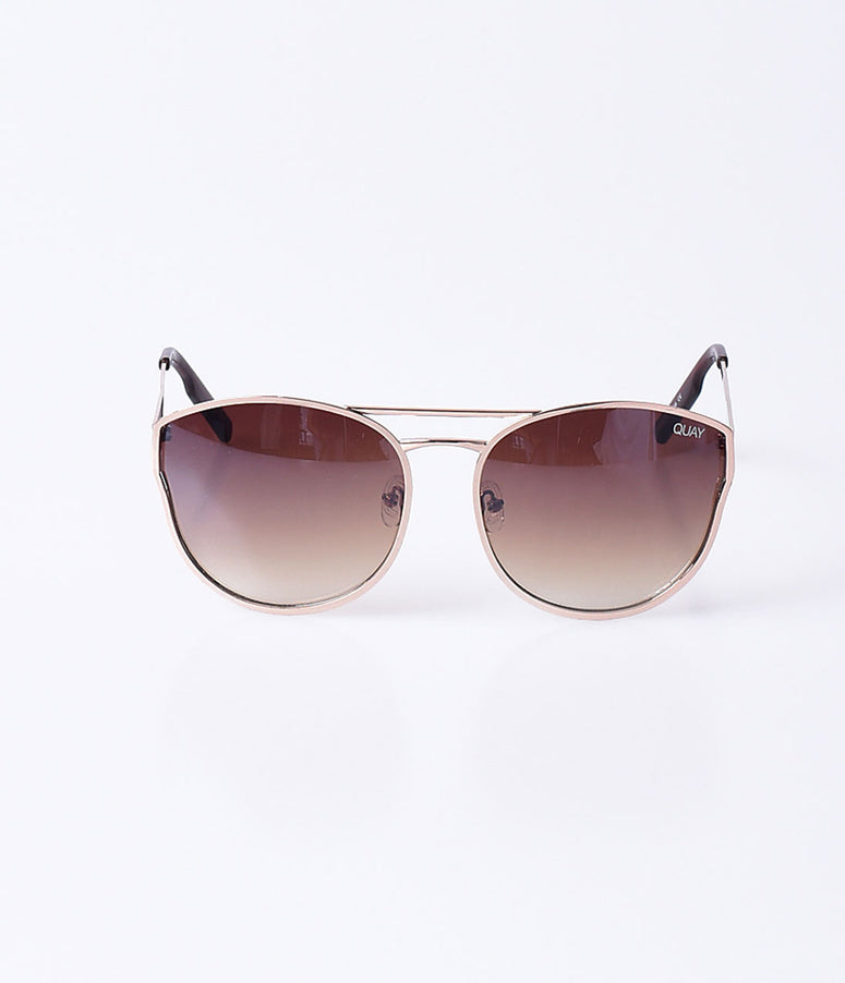 Quay Gold & Brown Cherry Bomb Round Sunglasses