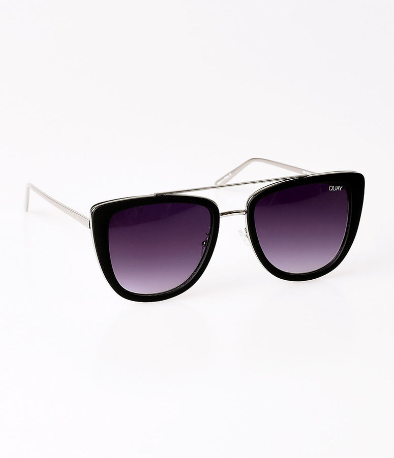 Quay Matte Black & Silver Metal French Kiss Sunglasses