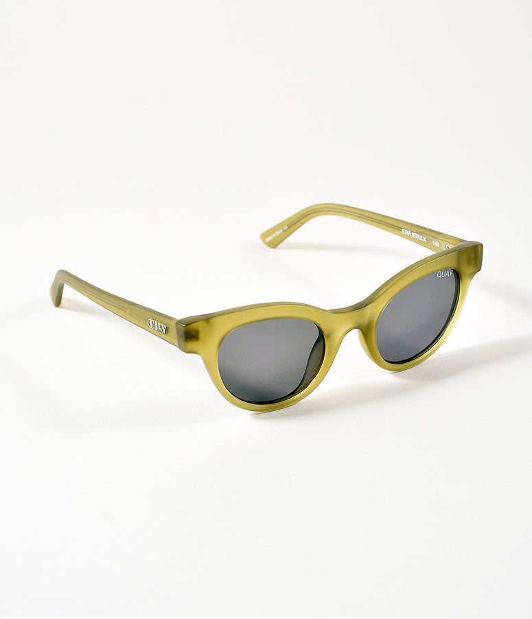 Quay Matte Olive Green & Smokey Star Struck Cat Eye Sunglasses