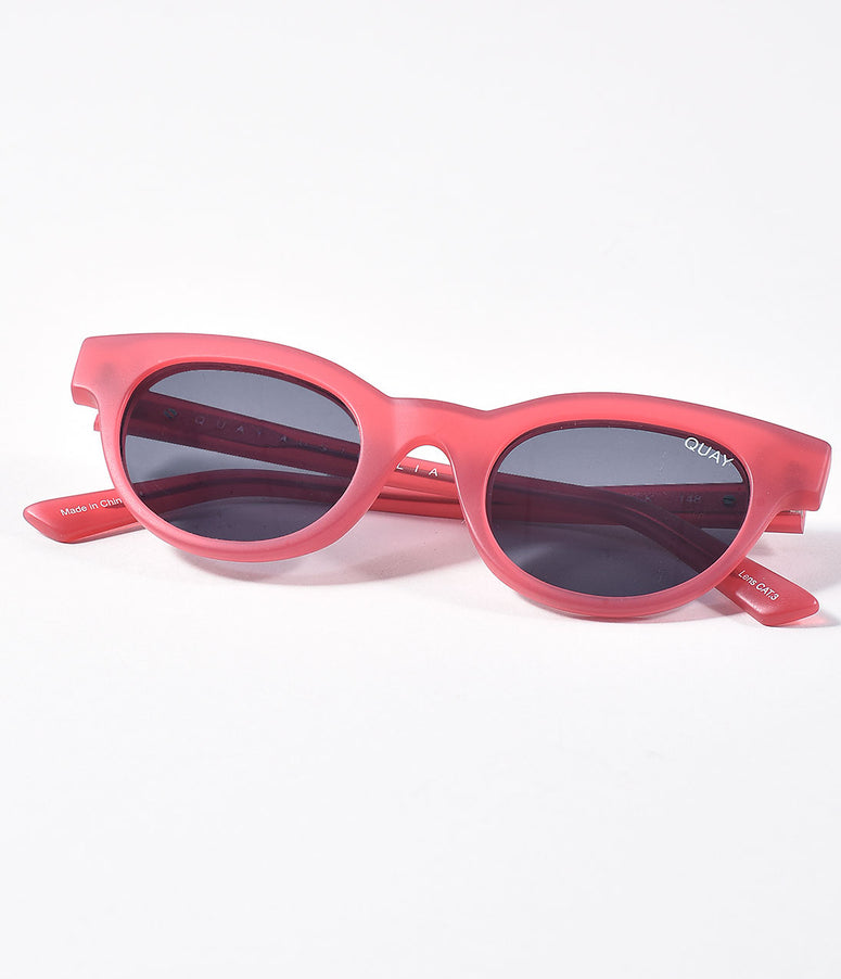 Quay Matte Rose Pink & Smokey Star Struck Cat Eye Sunglasses