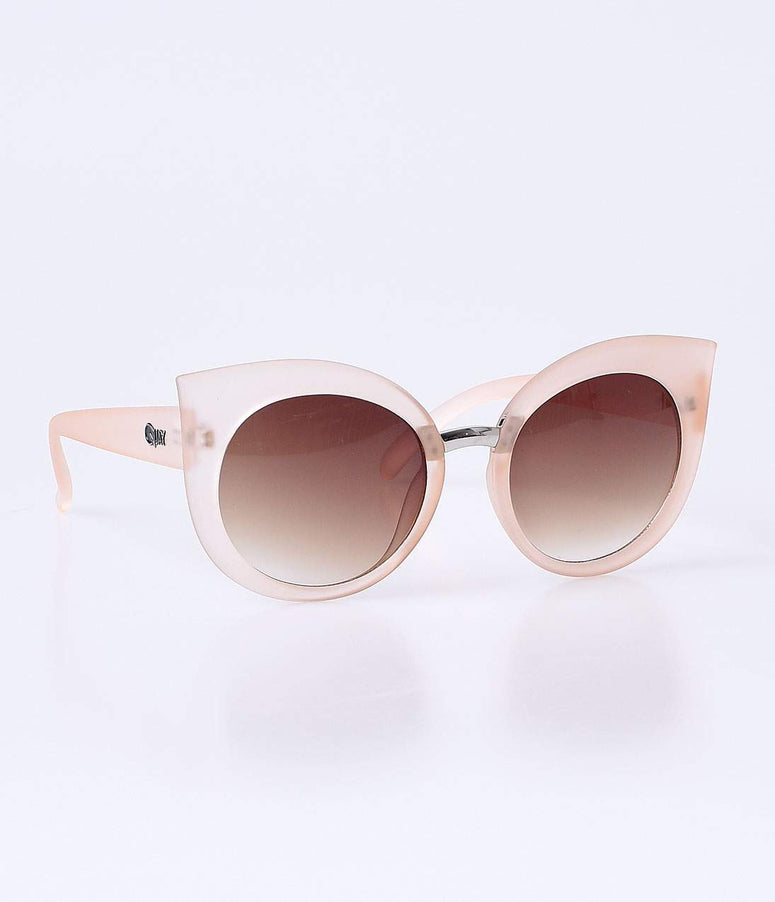 Quay Retro Frosted Beige Dream Of Me Cat Eye Sunglasses