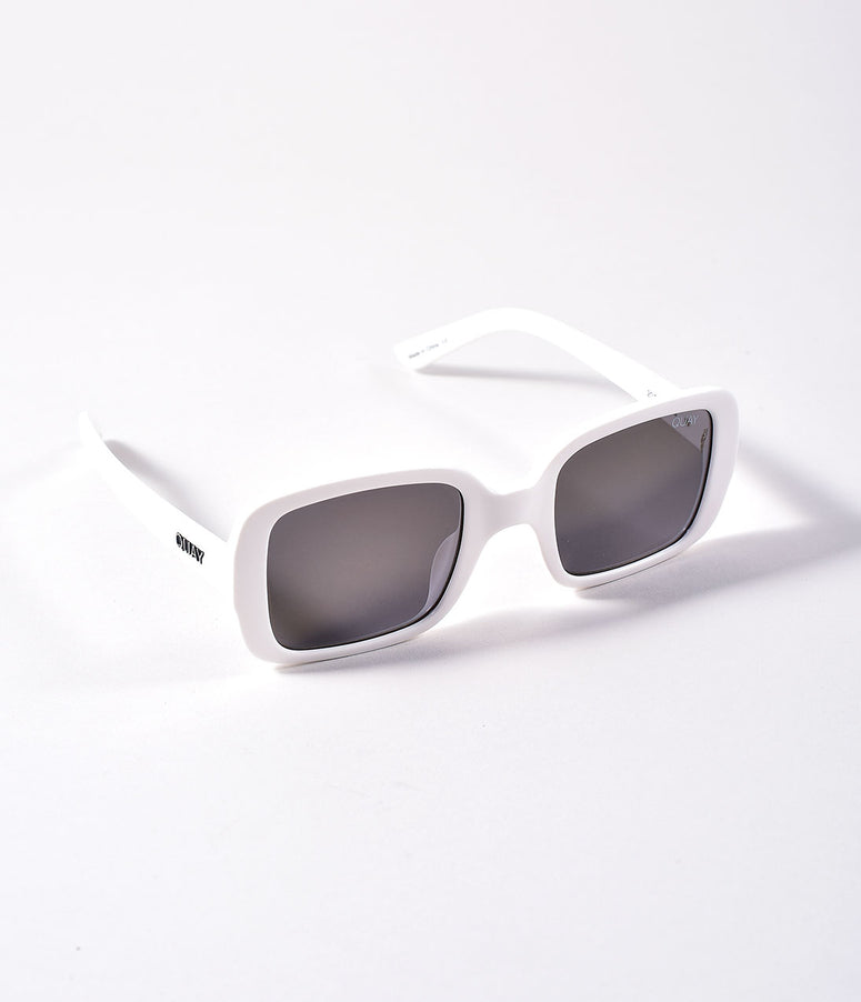 Quay White & Gold 20s Rectangle Sunglasses