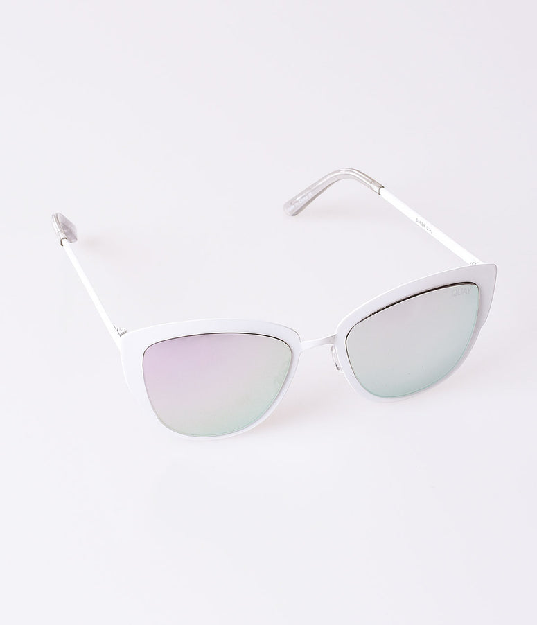 Quay White Metal & Silver Lenses Super Girl Cat Eye Sunglasses