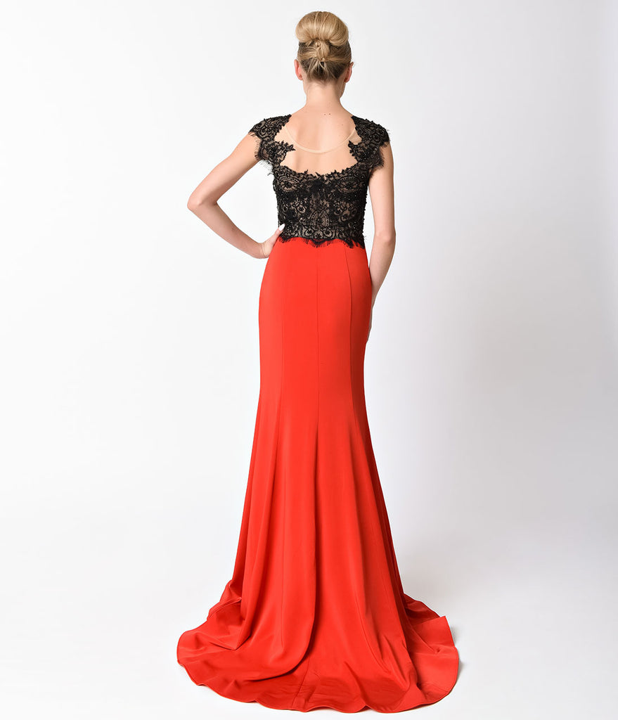 Red & Black Lace Cap Sleeve Long Dress