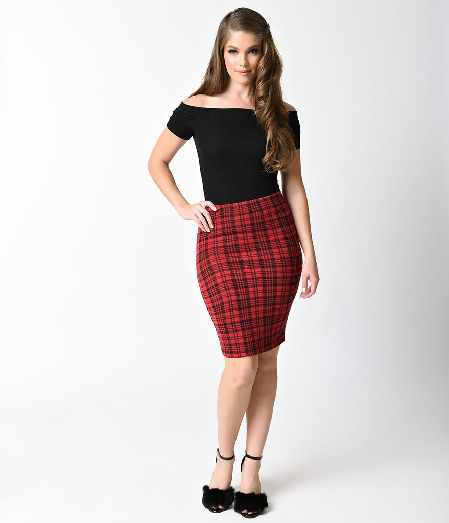 Red & Black Plaid High Waisted Fitted Wiggle Skirt