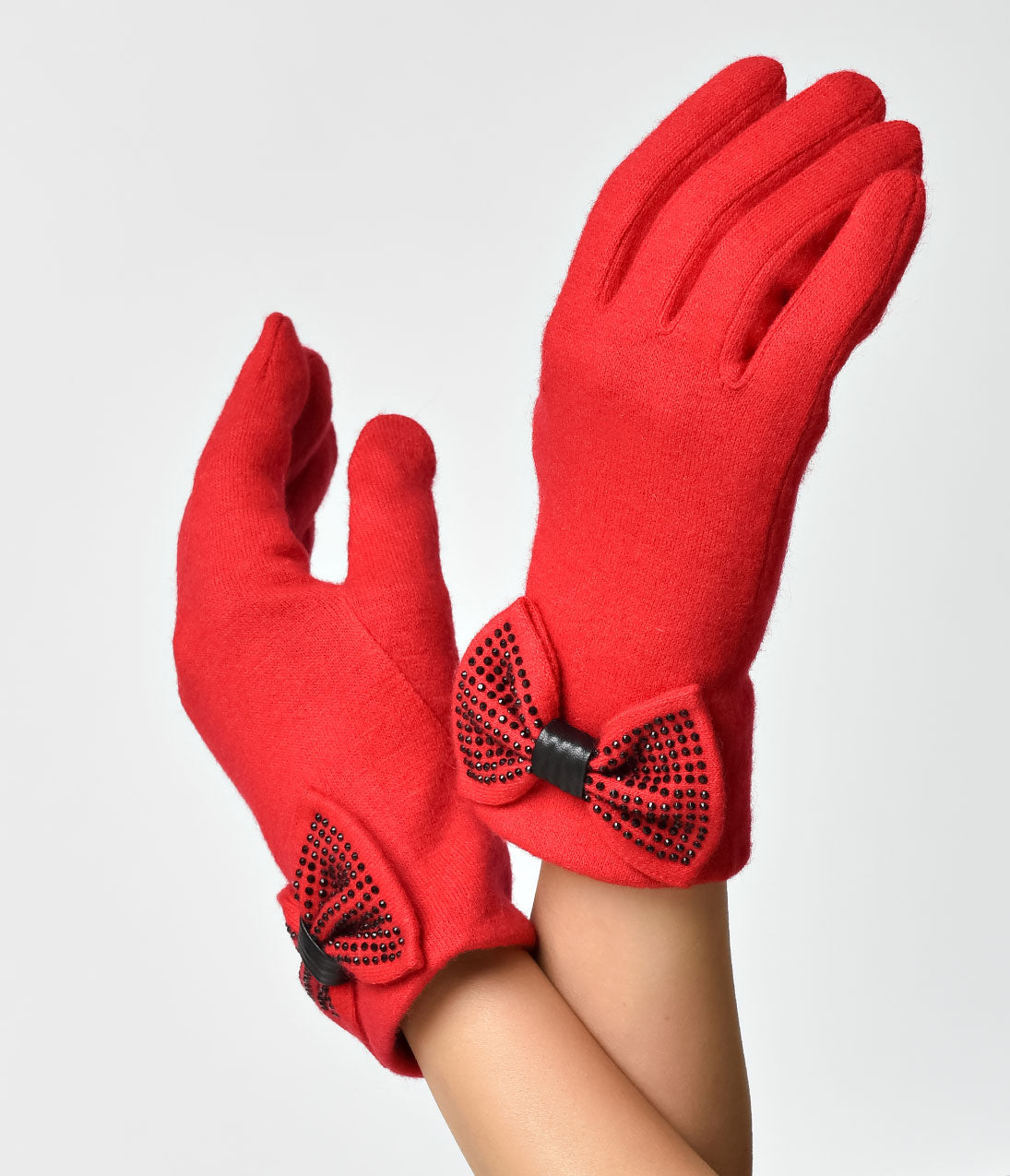 Vintage Gloves – Styles from 1900 to 1960s Red  Black Rhinestone Bow Jolie Gloves $28.00 AT vintagedancer.com
