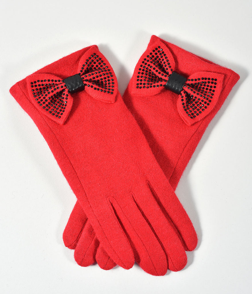Red & Black Rhinestone Bow Jolie Gloves