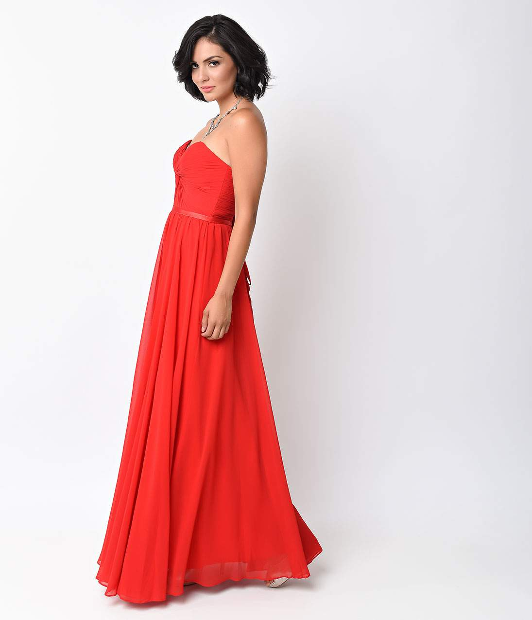 Red Chiffon Strapless Sweetheart Corset Long Gown – Unique Vintage