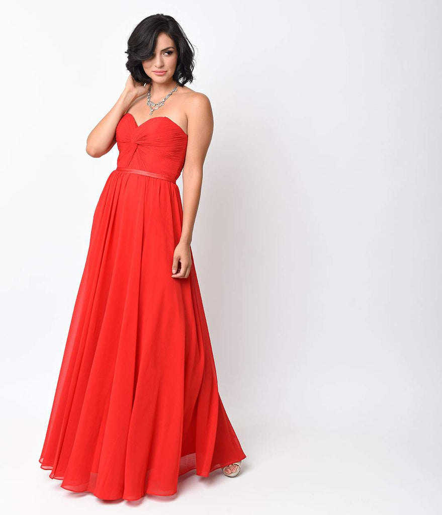 Red Chiffon Strapless Sweetheart Corset Long Gown