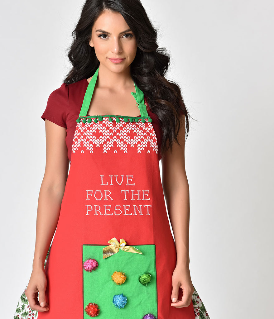 Red Cotton Live For The Present Ugly Sweater Apron