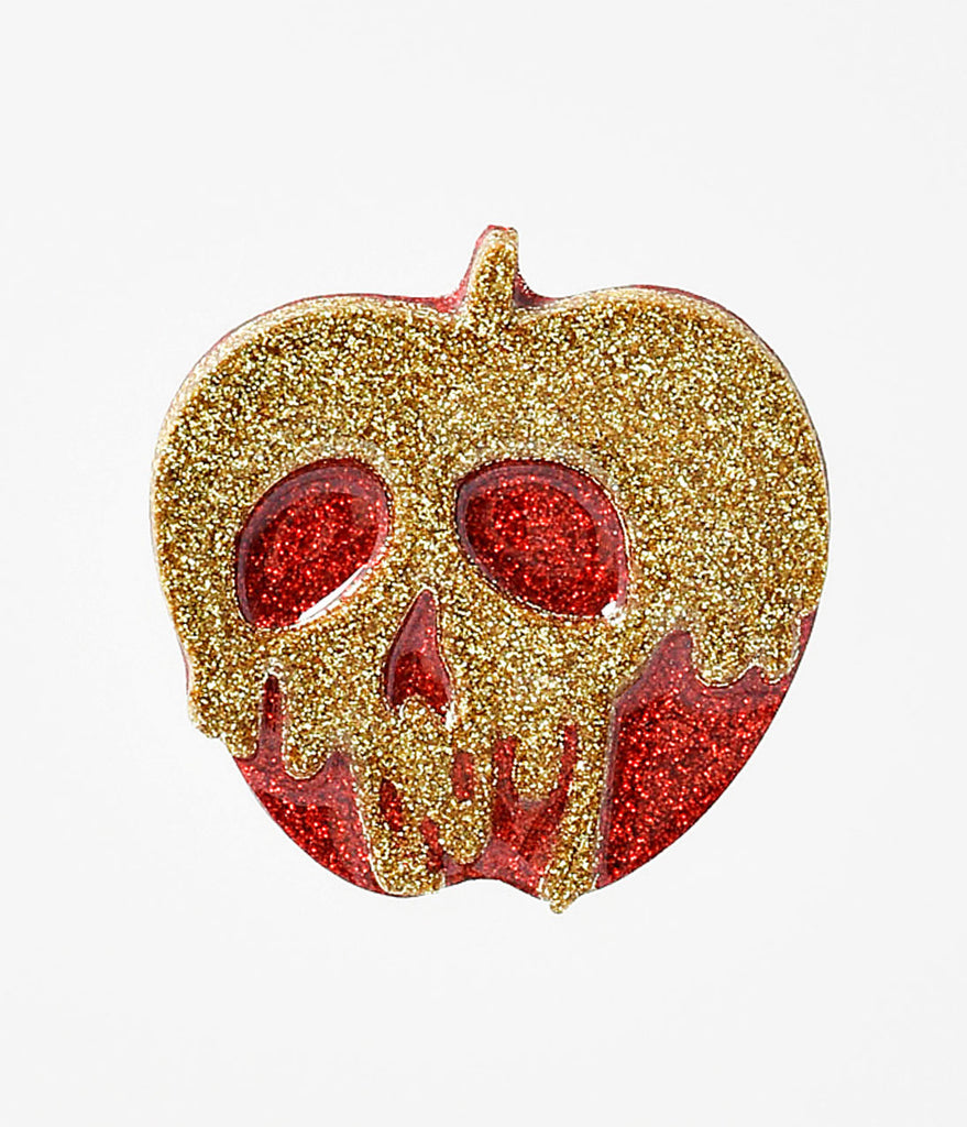 Red & Gold Glitter Poison Apple Resin Brooch