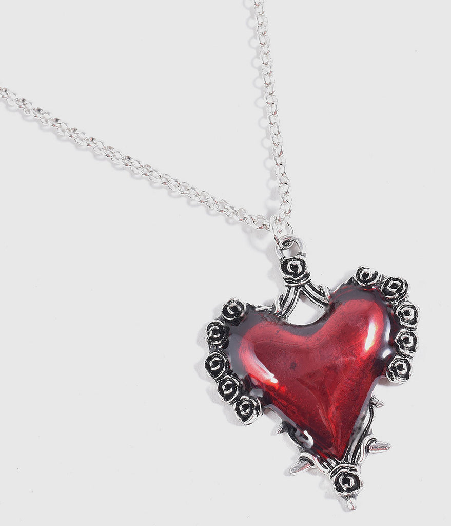 Red Heart & Thorny Rose Pendant Necklace