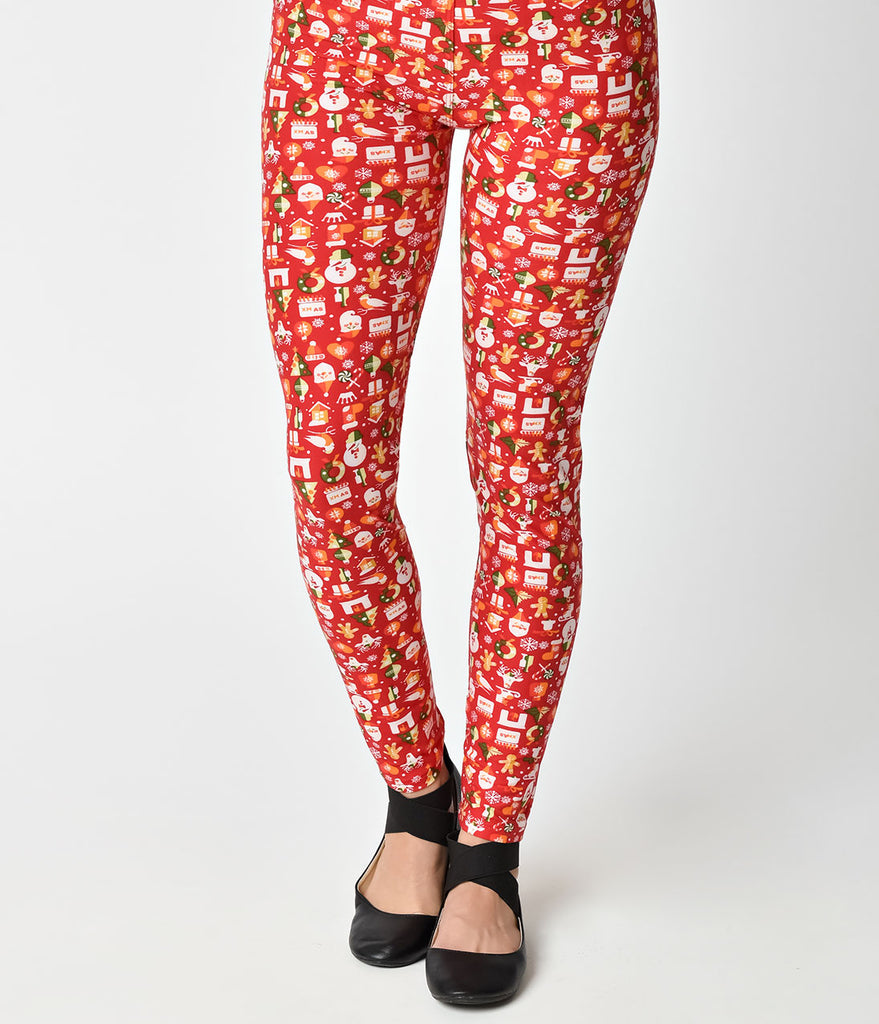 Red Holiday Print Stretch Leggings