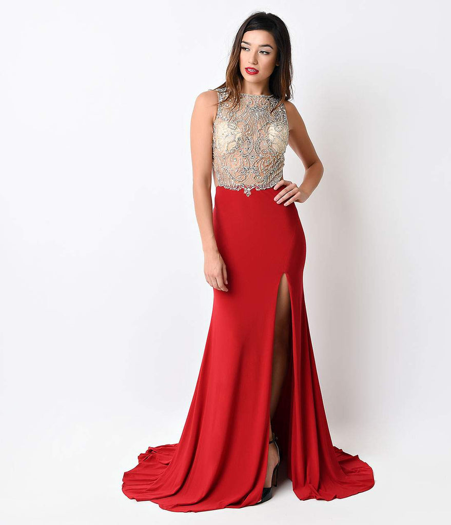 Red Illusion Mesh Beaded Jersey Long Gown